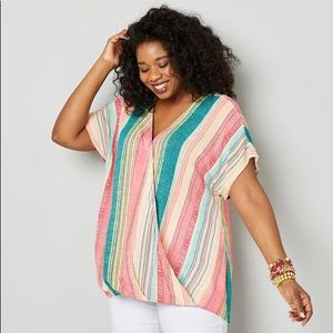 Avenue Multistripe Surplice Top